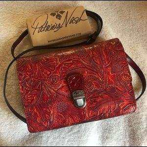 Red Patricia Nash tooled leather crossbody